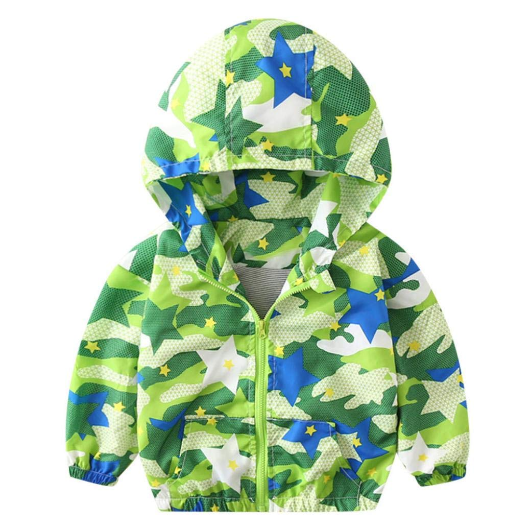 H.eternal Girls Waterproof Jacket Baby Excavator Camouflage Coat Autumn ZipperRaincoat Parka Hooded Rainsuit Windbreaker Clothes Lightweight Outdoor Showerproof Rainwear