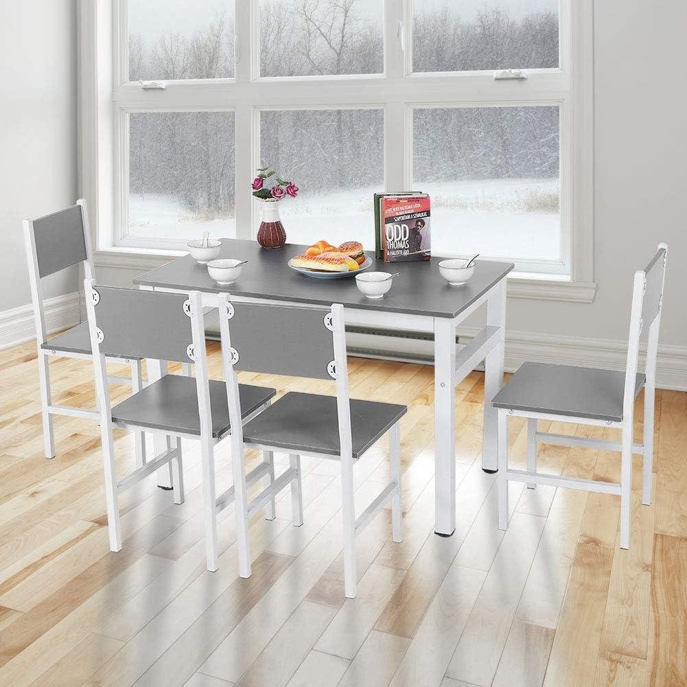 Wakects 5 Pezzi Set Tavolo da Pranzo con 4 Sgabelli per Sala da Pranzo o Cucina 108 x 60 x 72.5 cm Bianco e Grigio