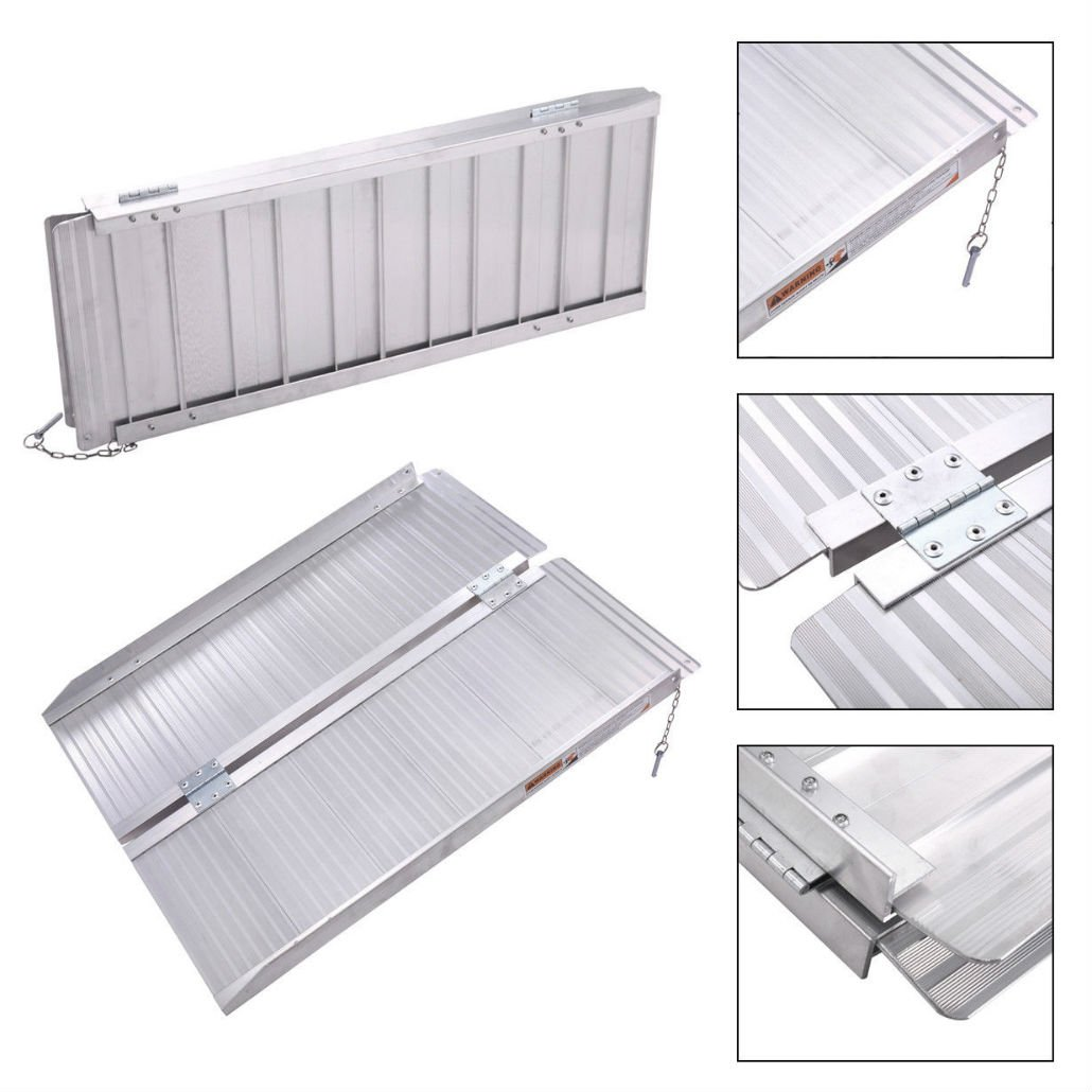 3' Aluminum Fold Portable Wheelchair Ramp Mobility Handicap Suitcase Threshold