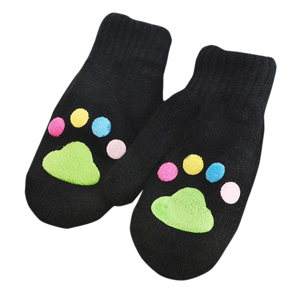 Winter Gloves Kids Children Footprint knitting Wool Infant Baby Girls Boys Winter Warm Gloves #c