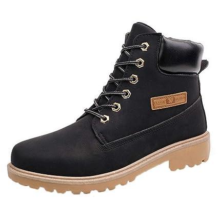 WWricotta LuckyGirls Zapatillas Casual Hombres Botas Pieles de Caña Alta Moteras Moda Cómodas Calzado Andar Zapatos Planos Bambas con Cordones: Amazon.es: ...