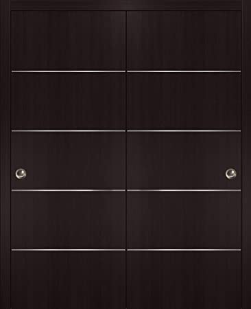 Closet Modern Solid Core Doors Double Barn Sliding Brown Doors 84 x 84 with 14FT Rails Planum 0020 Chocolate Ash Heavy Top Mount Track Slider Set