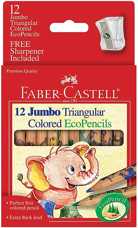 faber castell 12ct jumbo triangular ecopencils with sharpener