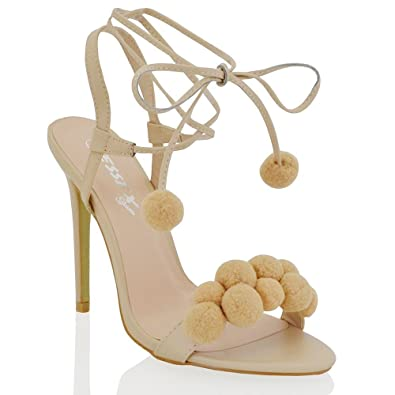 a7481d1e1d ESSEX GLAM Womens Stiletto Heel Pom Pom Lace Up Tie Nude Synthetic Sandals  5 B(