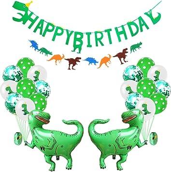 Amycute 24pcs Decoracion De Dinosaurio Happy Birthday Banner Globos De Dinosaurios Verde Decoraciones De Cumpleanos Para Ninos Fiesta De Dinosaurio Amazon Es Juguetes Y Juegos Compra cartón verde y recorta unos dinosaurios distintos. dinosaurio happy birthday banner globos