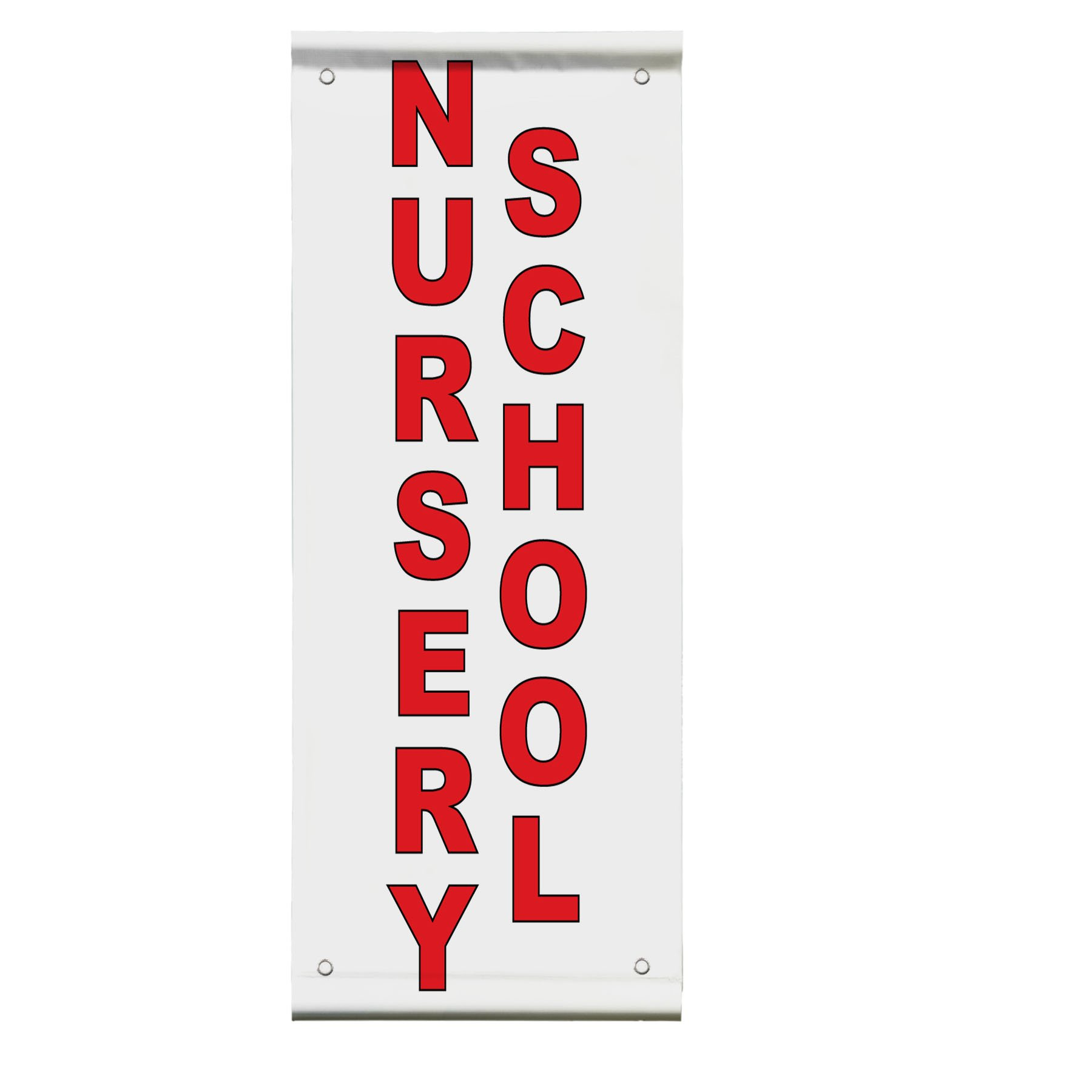 Nursery School Red Double Sided Vertical Pole Banner Sign 36 in x 72 in