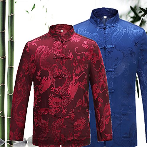 KIKIGOAL Mens Martial Arts Kung Fu Uniform Long Sleeve Tang Suit With Dargon Pattern (XXXL, red) by KIKIGOAL (Image #4)