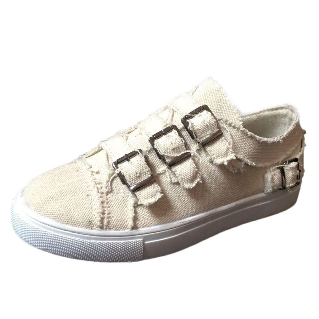 〓COOlCCI〓Women Splicing Metal Buckle Distressed Canvas Sneaker Shoes Slip on Flats Casual Low Cut Espadrilles Walking Beige by COOlCCI_Shoes