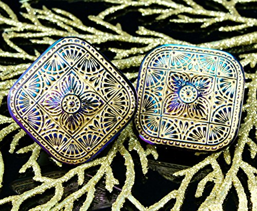 Dichroic Glass Buttons - Handmade Large Czech Glass Buttons Square Matte Gold Purple Dichroic Vitrail Size 18, 38mm 1pc