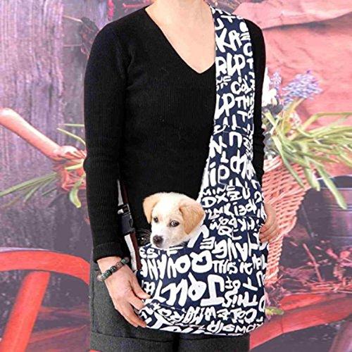 Durable English letters printed Oxford cloth shoulder sling bag, pet dog or cat carrier, size L Tinksky