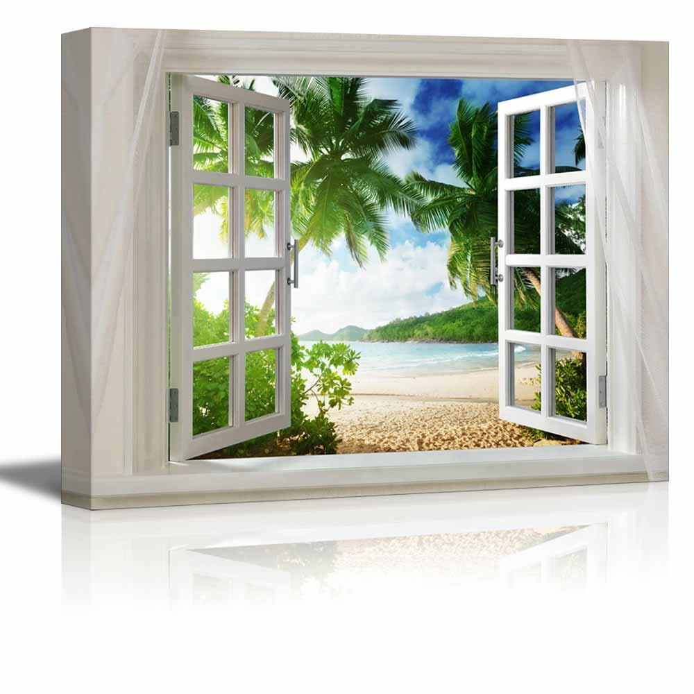 wall26 Glimpse into Beautiful Tropical Beach with Palm Trees out of Open Window/Home Decoration Stretched Gallery Canvas Wrap Giclee Print & Ready to Hang - 32'' x 48''