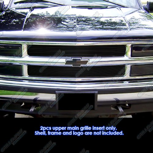 (APS Compatible with 1994-1999 Chevy Blazer C K Pickup Suburban Tahoe Black Billet Grille Grill Insert C65735H)