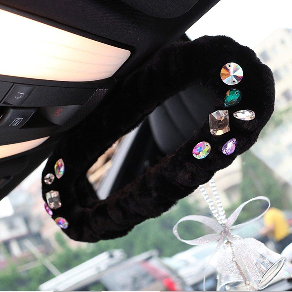 inebiz Luxury Carチャーム内部バックミラーPlush装飾カバー光沢カラフルラインストーン、自動車Bling Bling内部ゴム装飾for Girl Woman   B0773M6HW9