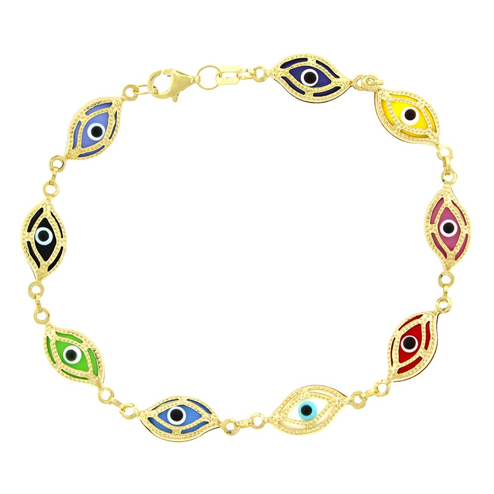 14k Yellow Gold Womens 7mm Clear Multi-Color Evil Eye Good Luck Charm Bracelet Chain 7.5''