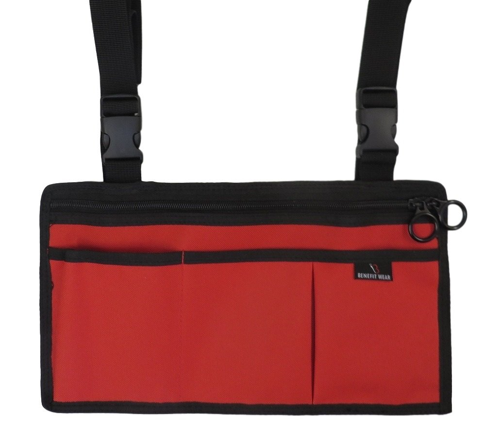 Side-Pack 5 Pocket Wheelchair or Scooter Bag w/Key Rings (Red)