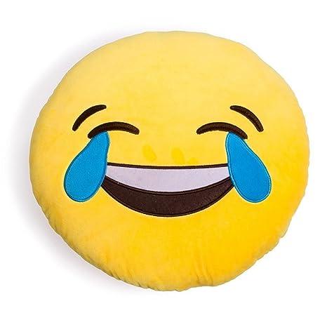 VLUNT Emoji Emoticono Cojín Almohada Redonda Emoticon Peluche Bordado Sonriente