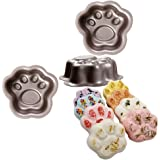 tyoungg 2 pcs Cute Cat Dog Paw Print Metal Bath Bomb Molds to Make Unique Cute Homemade or Business Bath Bombs