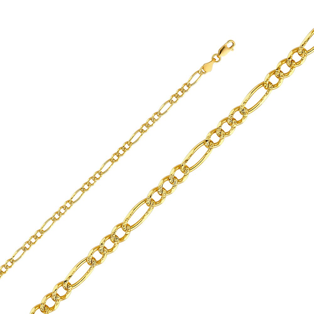 Wellingsale 14k Yellow Gold SOLID 4mm Polished Figaro 3+1 Yellow Pave Diamond Cut Chain Necklace - 24''