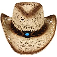 D Diana Dickson Classic Western Structured Curved Brim Straw Cowboy Hat,Beige 1
