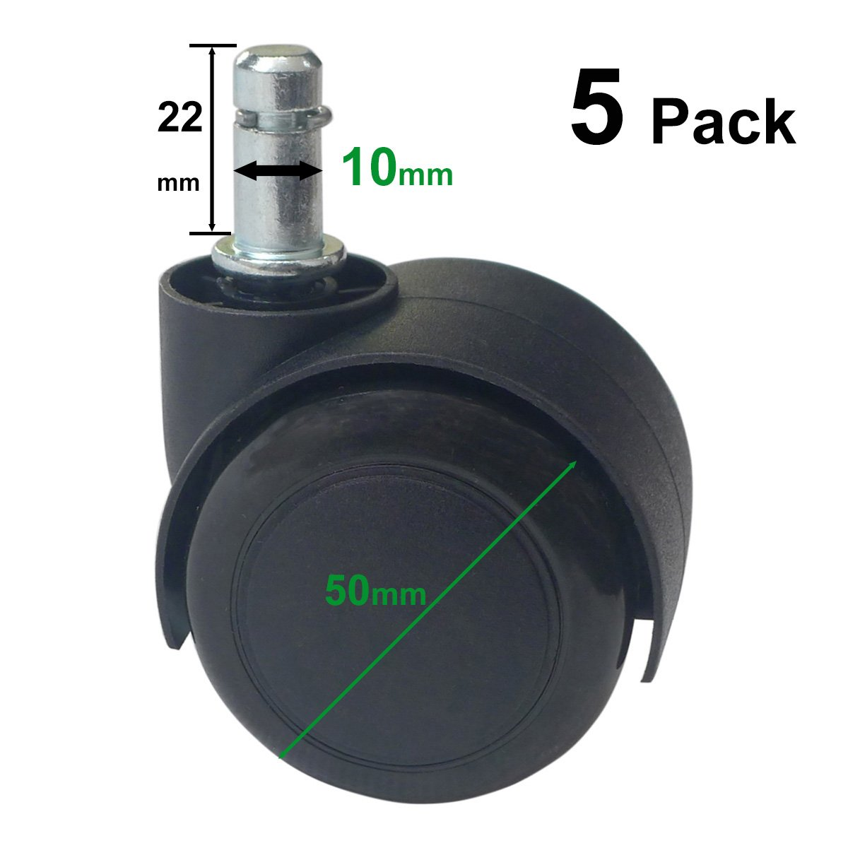 10mm Stem Caster for IKEA Office Chair Wheel, IKEA Caster Wheels Replacement (Pack of 5) MySit
