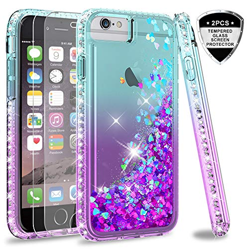 iPhone 6s / 6 Case, iPhone 7 Case, iPhone 8 Glitter Case with Tempered Glass Screen Protector [2Pack] for Girls Women,LeYi Moving Quicksand Clear Phone Case for Apple iPhone 6/ 6s/ 7/8 ZX Teal/Purple (Moving Iphone 4 Case)