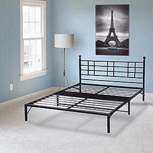 Best Price Mattress Model L Easy Set-up Steel Platform Bed Frame, Twin, Black