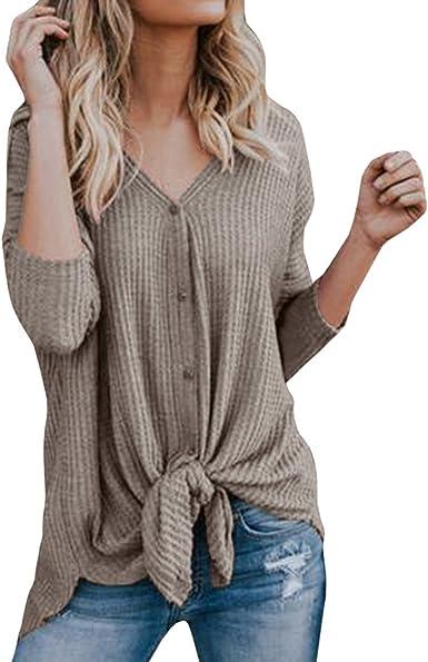 Camisa Larga del Botón de Las Mujeres Cuello V Manga Larga Cárdigan Camiseta Casual Top Blusa Blanca Oferta Blusas de Mujer Elegantes de Fiesta (XL, Caqui): Amazon.es: Ropa y accesorios