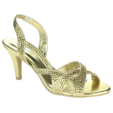 Ladies Spot On Open Toe Diamante /'Sandals/'