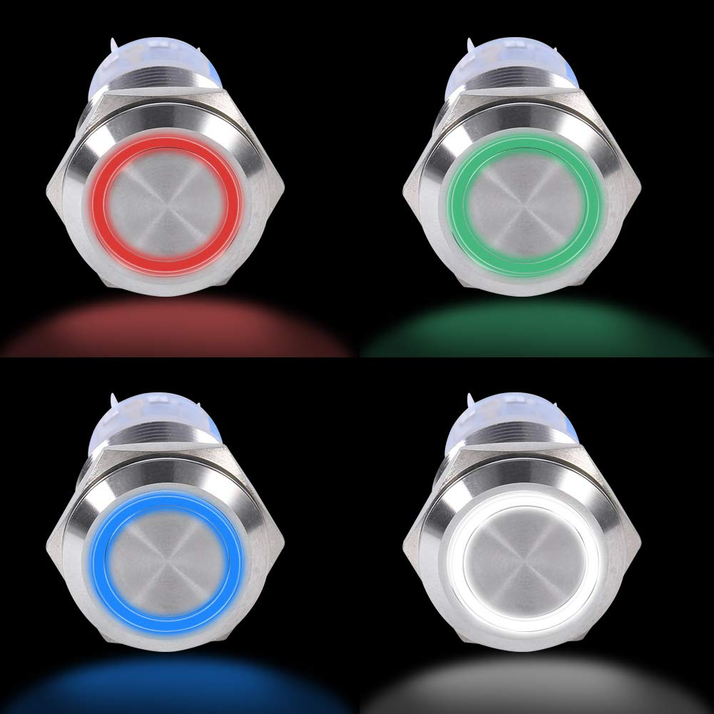 19mm Waterproof Stainless Self-locking Button On//Off Latch Button Switch 1NO1NC 12V LED Self-locking Latching Push Button Switch Green