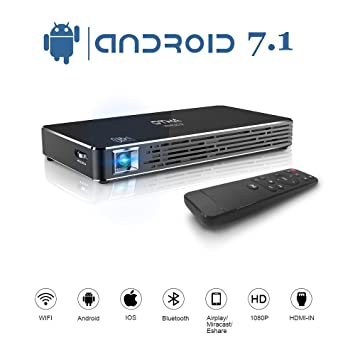 OTHA Proyector Portátil, DLP Mini Proyectores Android 7.1 Video Projector 1080P Full HD Home Theater