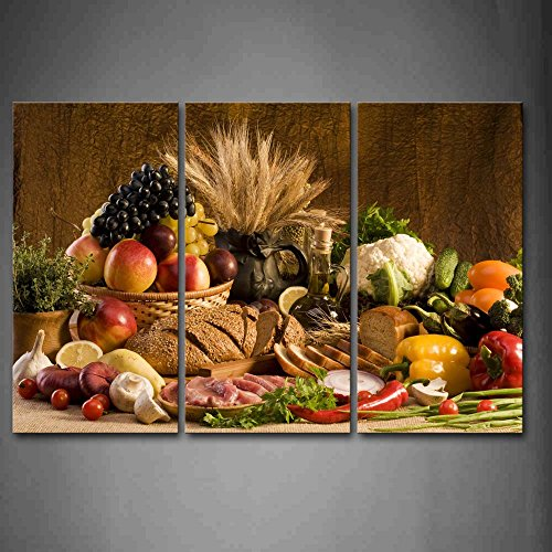 - First Wall Art - Brown Fresh Food Grape Apple Fruit In Basket Bread Oion Little Tomato Sweet Pepper Cauliflower Wheat Gather On The Table Wall Art Painting The Picture Print On Canvas Food Pictures For Home Decor Decoration Gift