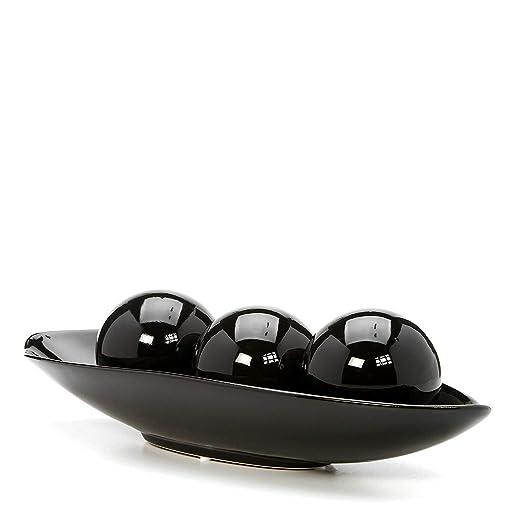 Hh001 Tazón Decorativo Negro y Conjunto de orbe. Regalo Ideal para ...