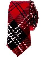 "TopTie Unisex Black and Red Plaid Skinny 2"" inch Necktie"