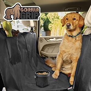 Gorilla Grip Original Durable Slip-Resistant Waterproof Dog Car Seat Protector Cover, Free Dogs Bowl, Backseat Pet Hammock, Universal Fit Soft Back Seat Protectors for Cars, SUV Trucks, Underside Grip