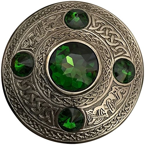 Scottish Fly Plaid Brooch Green 5 Stone Silver Antique 4