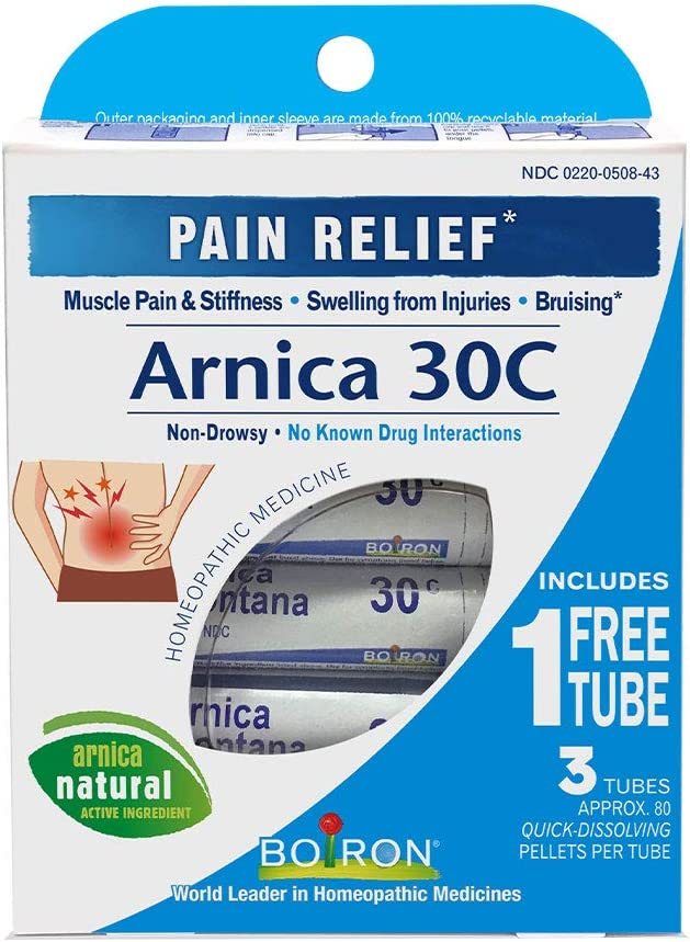 Boiron Arnica Montana 30C 3 Tubes (80 Pellets per Tube) Homeopathic Medicine for Pain Relief: Health & Personal Care