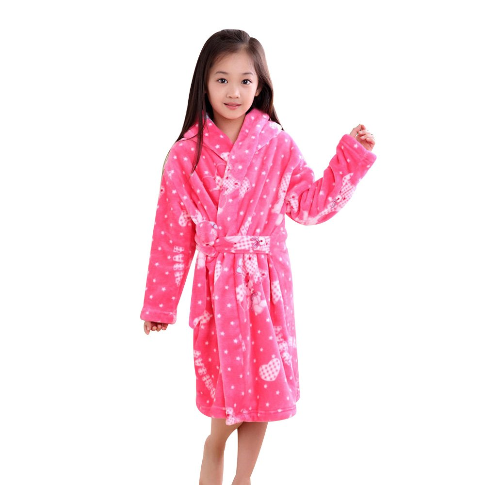 pinnacleT1 Children's Flannel Robe Autumn and Winter Thickening Pajamas Children's Coral Adjustable Belt Bathrobes for Boys and Girls Kids Gifts size M (Pink Bea)