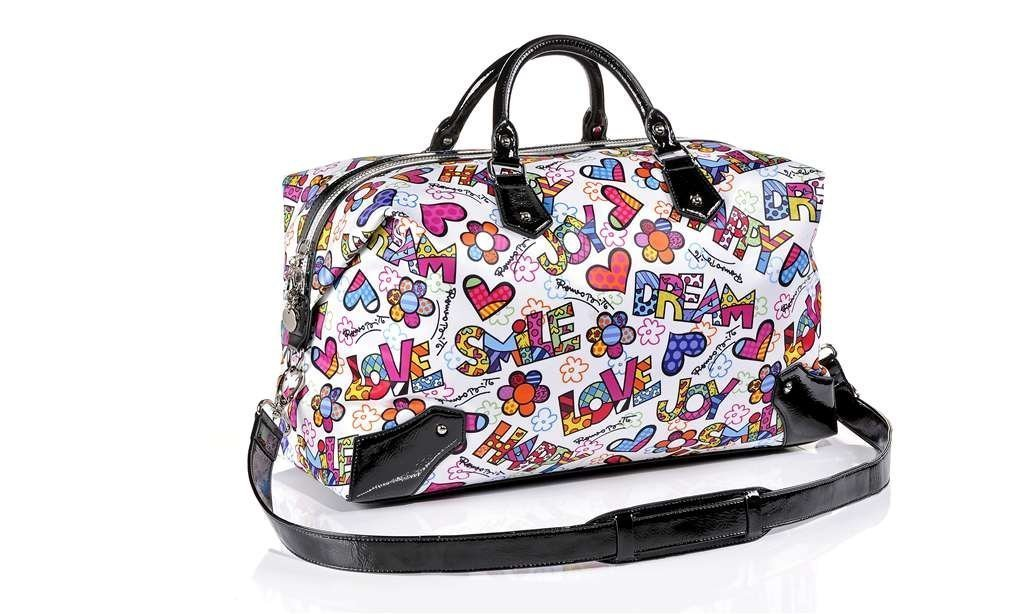 Giftcraft Romero Britto Polyester & Patent Leather Weekender Suitcase Designer Bag by Romero Britto