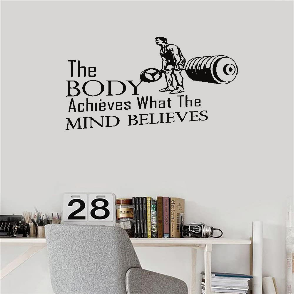 Amazon Com Jtzwmt Inspiring Quotes Home Art Decor Decal Mural The Body Achieves What The Mind Believe Gym Inspirational Home Kitchen