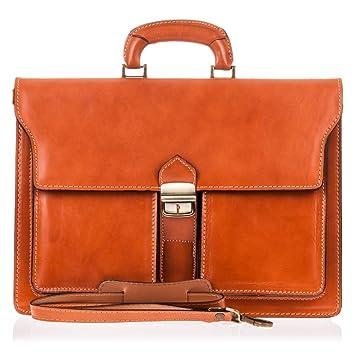 Maletin-cartera para hombre piel auténtica.Maletín-portafolios de piel acabado Vaqueta Bovino. MADE IN ITALY. VERA PELLE ITALIANA. 40x28x13 cm.