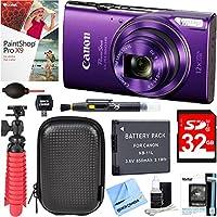 Canon PowerShot ELPH 360 HS Digital Camera (Purple) + 32GB Deluxe Accessory Bundle