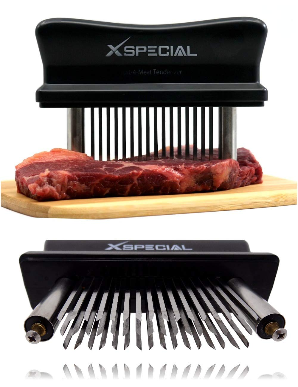 XSpecial Meat Tenderizer Tool - TRY IT NOW,Taste The Tenderness or REFUNDED ? Kitchen Gadget Tenderizers 48 Blades Stainless Steel Needle = Best For Tenderizing,BBQ,Marinade & Flavor Maximizer