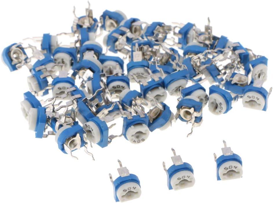 B Blesiya Valores Linear Trimmer Potenciómetro Resistor Equipos de Seguridad Electrónica Médica - 500k