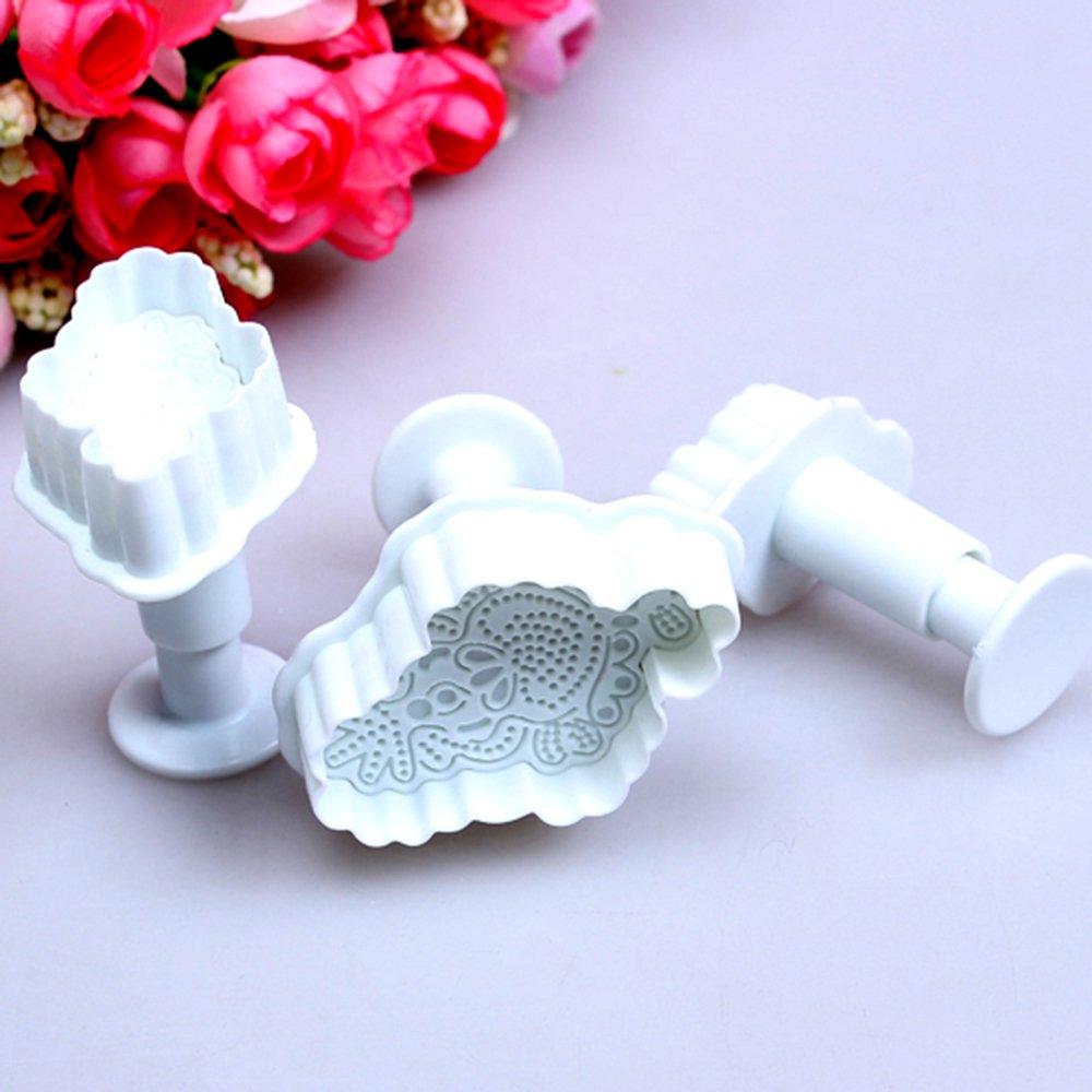Fulldream 3pcs Embroidery Fondant Cake Plunger Cutter Cookie Sugarcraft Decorating Mould
