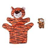 MagiDeal Lifelike Orange Tiger Hand Puppet Finger Puppet Set Kids Bedroom Toy School Performance Props