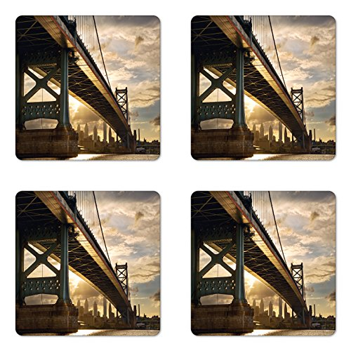 USA Coaster Set of Four by Lunarable, Ben Franklin Bridge Business District Waterscape Sun Setting Evening Scene View, Square Hardboard Gloss Coasters for Drinks, Light Coffe - Franklin Ben Glasses Style