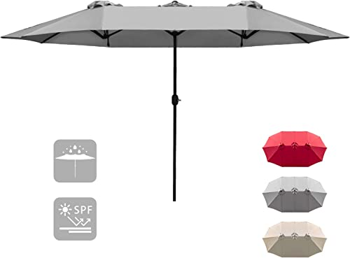Homall 15 FT Patio Umbrella Double Sided Table Umbrella Large Outdoor Market Twin Umbrella with Crank Handle Gray