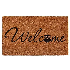 """Home & More 121481729 Barn Owl Welcome Doormat, 17"""" x 29"""" x 0.60"""", Natural/Black"""