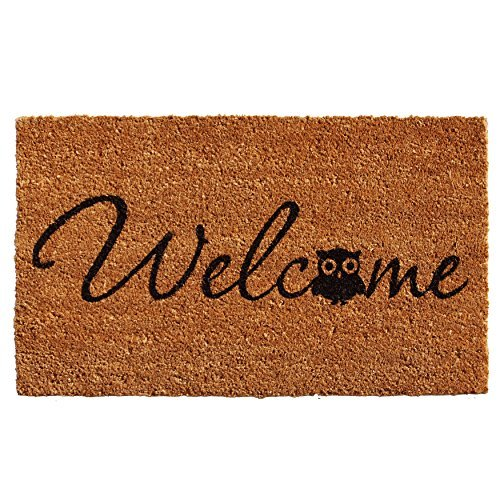 "Calloway Mills 121481729 Barn Owl Welcome Doormat, 17"" x 29"", Natural/Black"