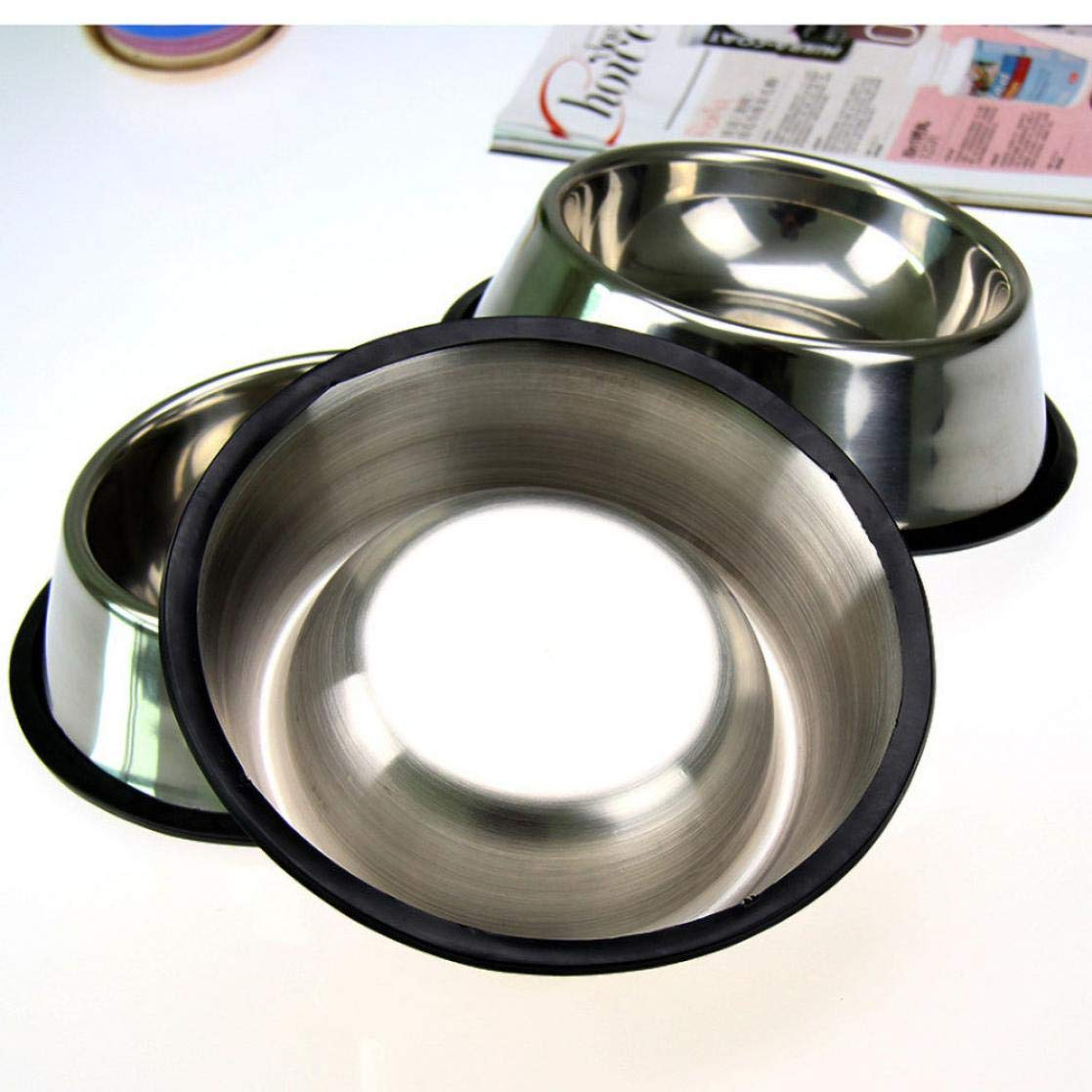 Achang Cute Stainless Steel Cat Dog Foods Bowl Stylish Pet Bowl For Pet Supplies (3 Pieces)